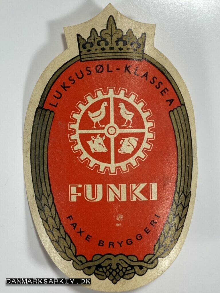 FUNKI øletiket - Luxus øl - Klasse A - Faxe Bryggeri - 23. marts 1931