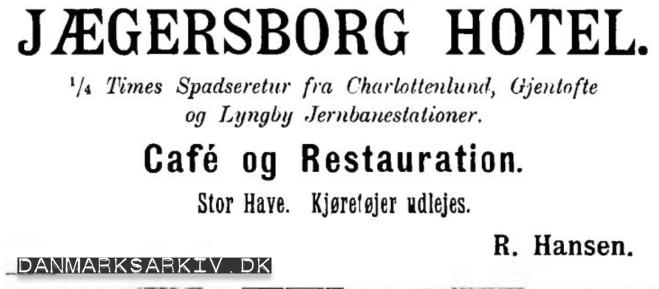 Jægersborg Hotel - Stor Have - Kjøretøjer udlejes - 1898