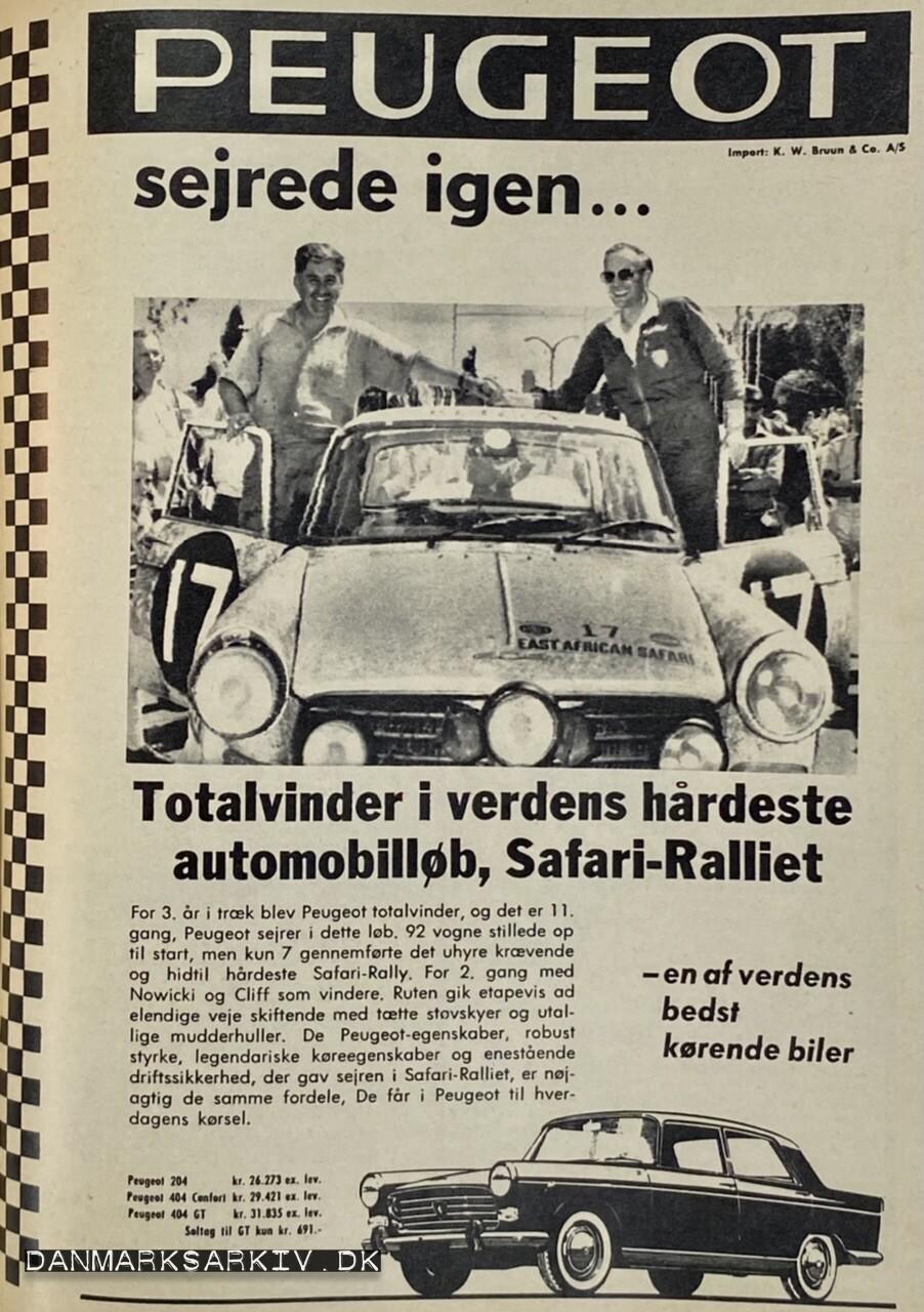 Peugeot sejrede igen - Totalvinder i verdens hårdeste automobilløb, Safari-Ralliet - en af verdens bedst kørende biler - 1968
