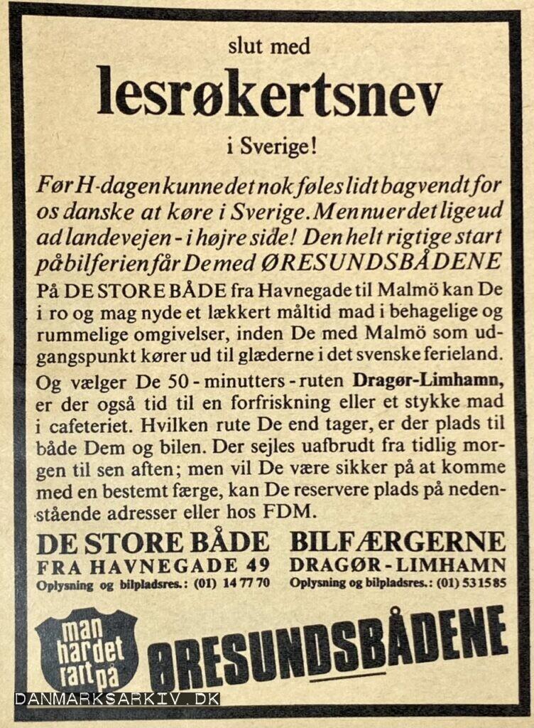 Man har det rart på Øresundsbådene - slut med lesrøkertsnev i Sverige!