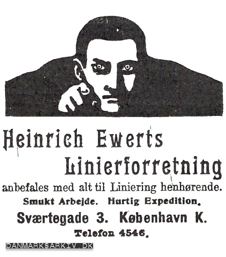 Heinrich Ewerts Linierforretning anbefales med alt til Liniering henhørende