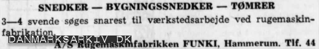 Rugemaskinfabrikken FUNKI søger medarbejdere - 1960