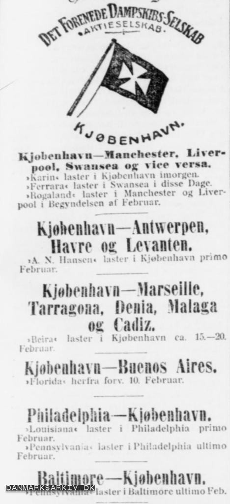 Det Forenede Dampskibs-Selskabs ruter - 1907
