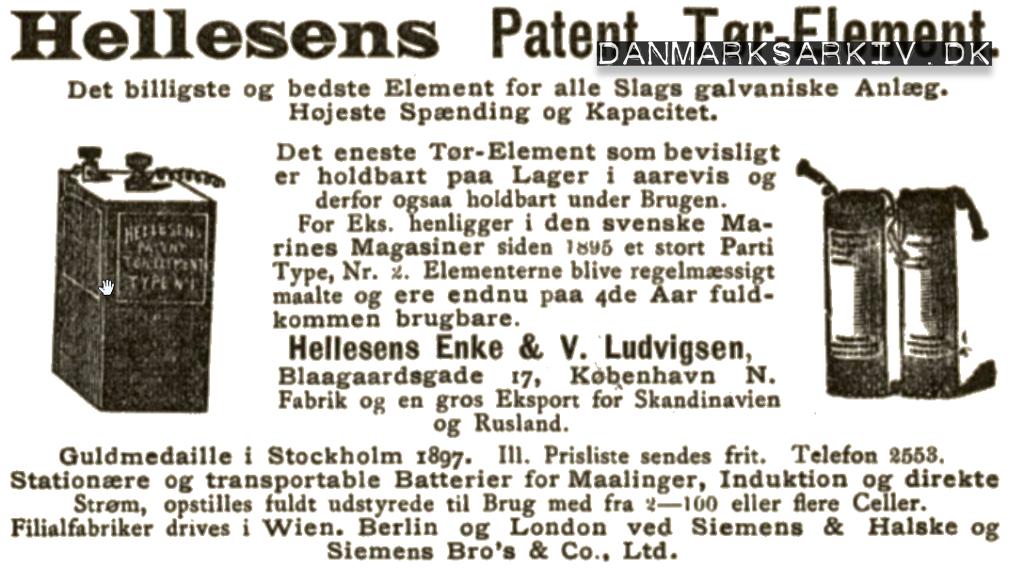 Hellesens Patenterede Tør-Element batterier - 1900