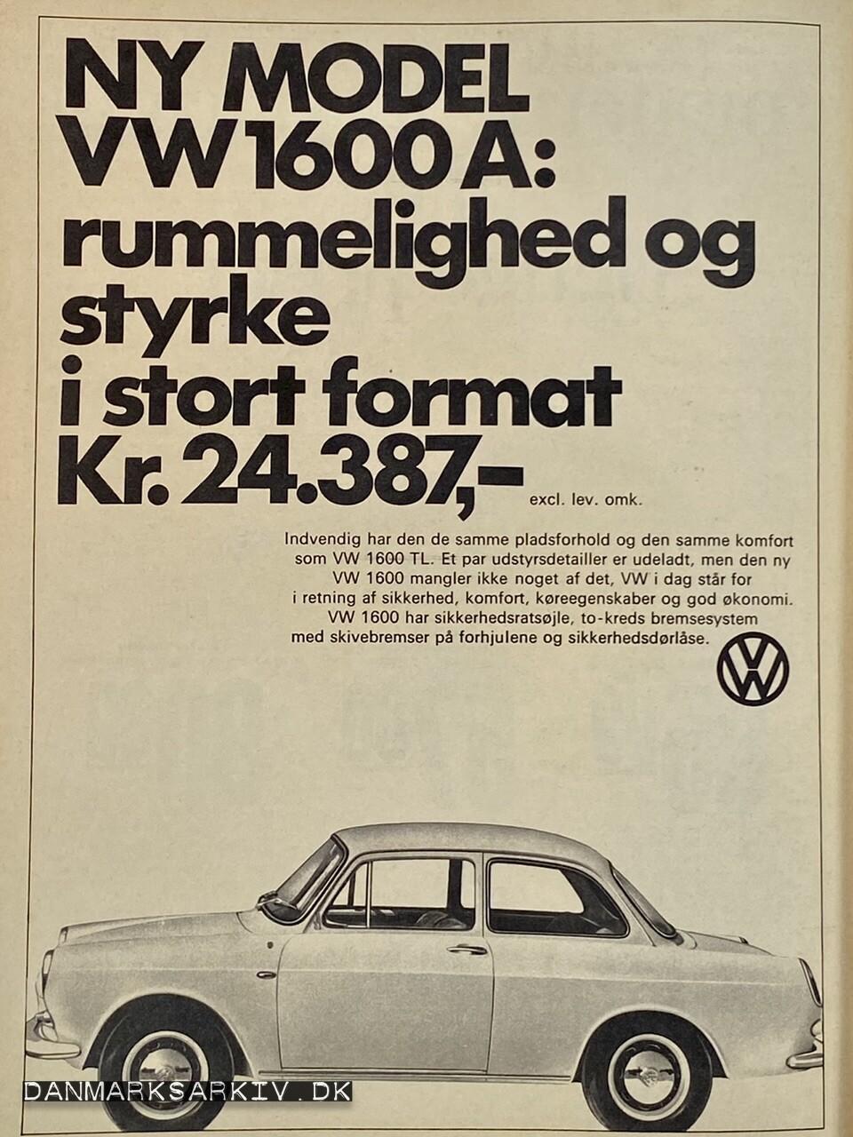 Volkswagen 1600 A - Rummelighed og styrke i stort format - 1968