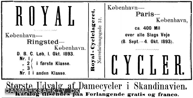 Royal Cycler - Største udvalg af damecycler i Skandinavien - 1893